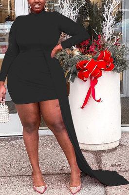 Sexy Black Women Long Sleeve Round Collar Irregular Plus Mini Dress HZF57821-1