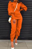 Orange Women Fashion Solid Color Puff Sleeve Zipper High Waist Pants Sets MR2120-1