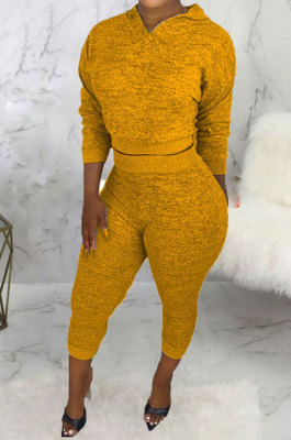 Yellow Women Hooded Pure Color Casual Bodycon Pants Sets ABL6695-3
