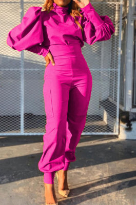 Rose Red Women Trendy Pure Color Puff Sleeve Pullover High Waist Pants Sets MR2121-3