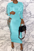 Sky Blue Women Sexy Pure Color Long Sleeve Hollow Out Mid Waist Round Collar Long Dress NYP013-3