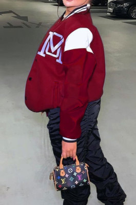 Wine Red Casual Webbing Spliced Letter Print Long Sleeve Cardigan Baseball Jacket HG138-2
