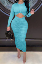 Light Blue Euramerican Women Autumn Bodycon Tops Solid Color Ruffle Hip Sexy Skirts Sets Q960-4