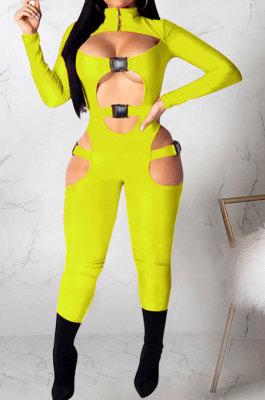 Lemon Yellow Women Sexy Club Wear Buckle Pure Color Zipper Bodycon Jumpsuits Q955-7