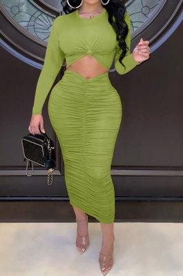 Green Euramerican Women Autumn Bodycon Tops Solid Color Ruffle Hip Sexy Skirts Sets Q960-5