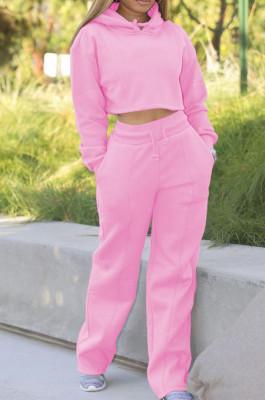 Pink Casual Sport Long Sleeve Hoodie Wide Leg Pants Solid Color Loose Sets FH173-5