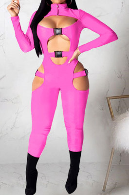 Pink Women Sexy Club Wear Buckle Pure Color Zipper Bodycon Jumpsuits Q955-2