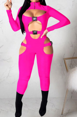 Rose Red Women Sexy Club Wear Buckle Pure Color Zipper Bodycon Jumpsuits Q955-5