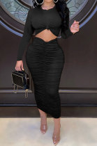 Black Euramerican Women Autumn Bodycon Tops Solid Color Ruffle Hip Sexy Skirts Sets Q960-3