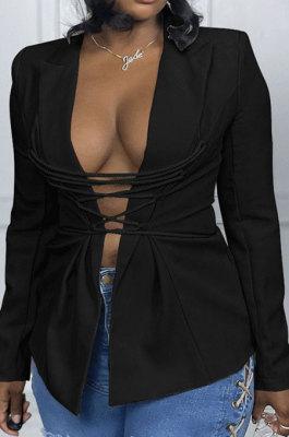 Black Fashion Simple Long Sleeve Lapel Neck Bandage Suits Coat MTY6589-2