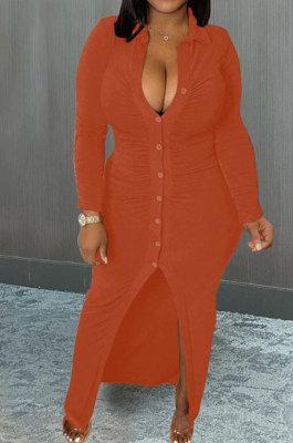 Orange Wholesale Velvet Long Sleeve Lapel Neck Single-Breasted Ruffle Shirt Dress MTY6579-2