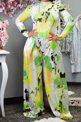 Yellow Women Autumn Winter Long Sleeve T Shirts Wide Leg Pants Printing Pants Sets RMH8944-2