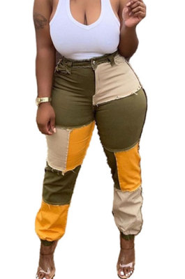 Army Green Women Fashion Casual Spliced Color Block Mid Waist Denim Pants WDS210905-1