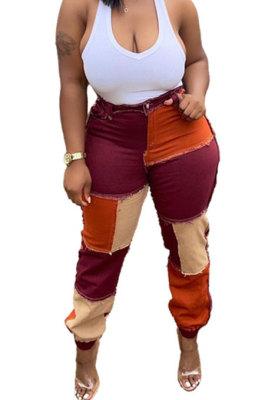 Wine Red Women Fashion Casual Spliced Color Block Mid Waist Denim Pants WDS210905-2