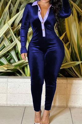 Blue Wholesale Women Spliced Long Sleeve Lapel Neck Collect Waist Bodycon Jumpsuits HG137-3