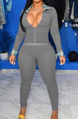 Gray Cotton Blend Casual Long Sleeve Lapel Neck Zipper Tops Capris Pants Sport Sets MK061-3