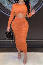 Orange Euramerican Women Autumn Bodycon Tops Solid Color Ruffle Hip Sexy Skirts Sets Q960-1