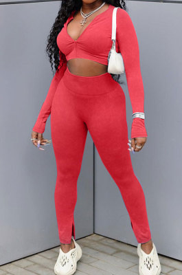 Red Cotton Blend Wholesale Long Sleeve Zip Front Crop Tops Bodycon Pants Sets KY3097-1