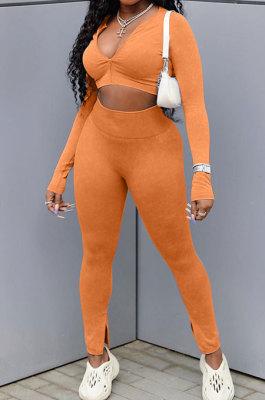 Orange Cotton Blend Wholesale Long Sleeve Zip Front Crop Tops Bodycon Pants Sets KY3097-3