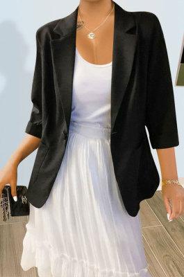 Black Pure And Fresh Newest Linen Three Quarter Sleeve Lapel Neck Cardigan Suits Coat QY5085-3