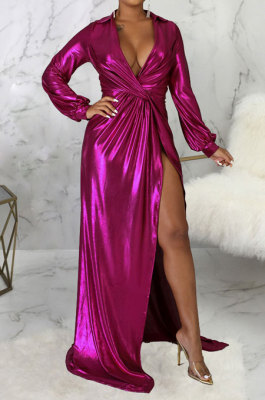 Rose Red Club Hot Starmping Long Sleeve V Collar Slim Fitting Sexy Slit Swing Long Dress SMR10194-4