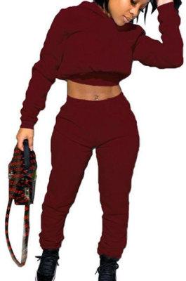 Wine Red Women Hooded Long Sleeve Fleece Solid Color Bandage Long Pants Sets CSY830-5