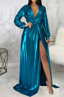 Blue Club Hot Starmping Long Sleeve V Collar Slim Fitting Sexy Slit Swing Long Dress SMR10194-3