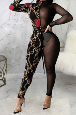 Black Sexy Mesh Print Long Sleeve V Neck Collect Waist Bodycon Jumpsuits SMR10278-2