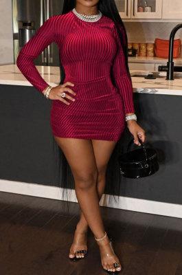 Red Women Pure Color Ribber Velvet Sexy Round Collar Mid Waist Long Sleeve Mini Dress KXL860-1