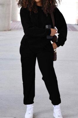Black Simple Sport Loose Long Sleeve Round Neck Pocket Jumper Long Pants Solid Color Sets SM9206-2