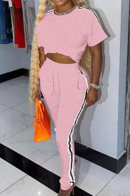 Pink Cotton Blend Side Strip Short Sleeve Round Neck T-Shirt Long Pants Sets TK6188-4