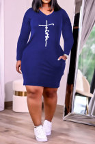 Royal Blue Euramerican Autumn Winter Trendy Women Loose Pure Color Printing Pocket Plus Mini Dress PH13253-5