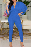 Wine Red Newest Batwing Sleeve V Neck Ruffle Collect Waist Solid Color Bodycon Jumpsuits WY6841-4