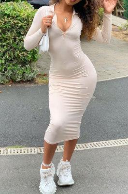Beige Women Pure Color Zipper Deep V Collar Long Sleeve Mid Waist Tight Sexy Midi Dress AMW8338-2