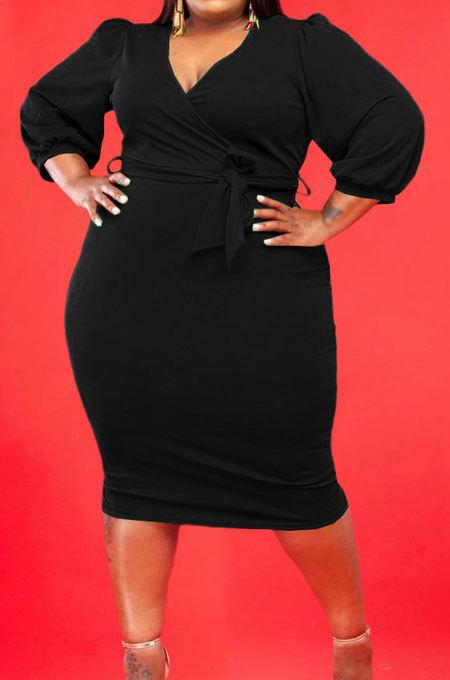 Black Fashion Big Yards Pure Color Puff Sleeve V Neck Bandage Fat Women Dress WA77249-3