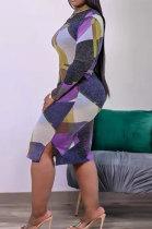 Black Newest Plaid Print Long Sleeve High Neck Slim Fitting With Beltband Slit Dress TK6147-2