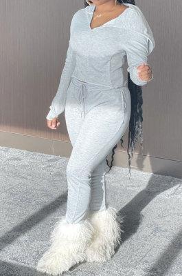 Gray White Euramerican Women Pure Color Fleece Hooded Long Sleeve Pants Sets KXL857-1