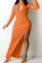 Orange Ribber Sexy Long Sleeve V Neck Backless Slim Fitting Solid Color Slit Maxi Dress TRS1176-2