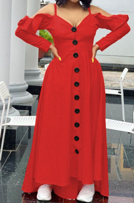 Red Cute Preppy New Ruffle Long Sleeve Off Shoulder V Neck Buttoned Front Collect Waist Swing Long Dress SM9205-3