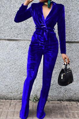 Royal Blue Wholesale Velvet Long Sleeve Lapel Neck Suits Coat Flare Pants Sets TRS1182-2