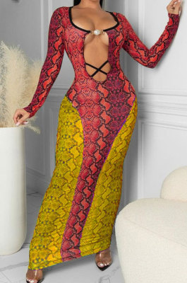 Red Yellow Sexy Snakeskin Print Long Sleeve Hollow Out Collect Waist Bodycon Dress TRS1180-3