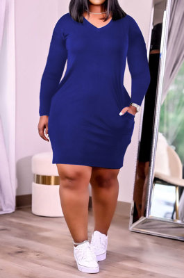 Royal Blue Women Fashion Loose Solid Color Round Collar Mid Waist Plus Mini Dress PH13252-5