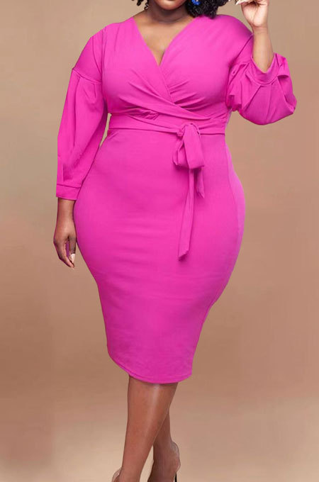 Rose Red Fashion Big Yards Pure Color Puff Sleeve V Neck Bandage Fat Women Dress WA77249-1