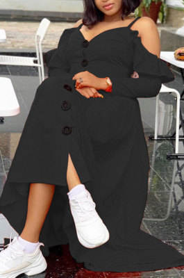 Black Cute Preppy New Ruffle Long Sleeve Off Shoulder V Neck Buttoned Front Collect Waist Swing Long Dress SM9205-2