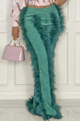 Green Women Autumn Winter Corduroy Rough Selvedge Mid Waist Solid Color Flare Leg Pants MLM9078-3