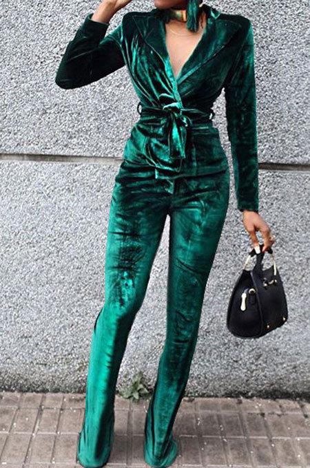 Green Wholesale Velvet Long Sleeve Lapel Neck Suits Coat Flare Pants Sets TRS1182-3