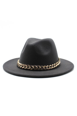 Felt Fedora Hat with Chain Accessiory
