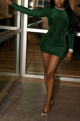 Dark Green Women Pure Color Ribber Velvet Sexy Round Collar Mid Waist Long Sleeve Mini Dress KXL860-4