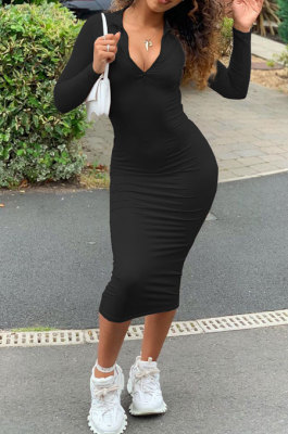 Black Women Pure Color Zipper Deep V Collar Long Sleeve Mid Waist Tight Sexy Midi Dress AMW8338-1
