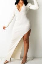 White Ribber Sexy Long Sleeve V Neck Backless Slim Fitting Solid Color Slit Maxi Dress TRS1176-3
